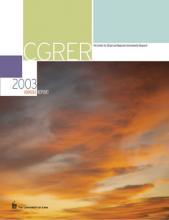 CGRER 2003 annual report
